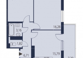 ул. БрюлловскаяБ, 2 Комнаты Комнаты,Квартира,Купить,ул. Брюлловская,19,16582